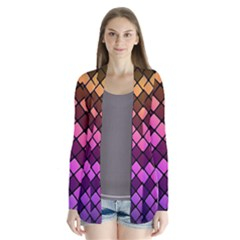 Abstract Small Block Pattern Cardigans