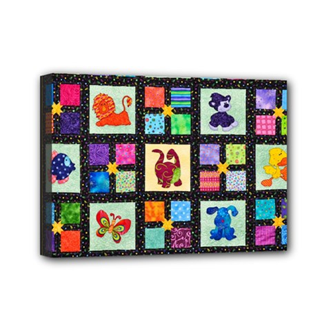 Animal Party Pattern Mini Canvas 7  x 5