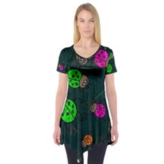 Abstract Bug Insect Pattern Short Sleeve Tunic