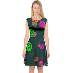 Abstract Bug Insect Pattern Capsleeve Midi Dress
