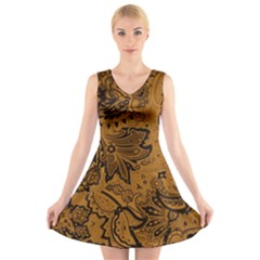 Art Traditional Batik Flower Pattern V-Neck Sleeveless Skater Dress