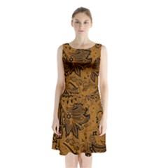 Art Traditional Batik Flower Pattern Sleeveless Chiffon Waist Tie Dress