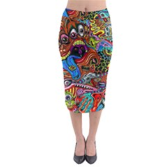 Art Color Dark Detail Monsters Psychedelic Midi Pencil Skirt