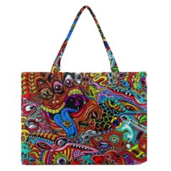 Art Color Dark Detail Monsters Psychedelic Medium Zipper Tote Bag
