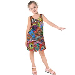 Art Color Dark Detail Monsters Psychedelic Kids  Sleeveless Dress