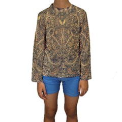 Art Indonesian Batik Kids  Long Sleeve Swimwear