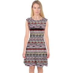 Aztec Pattern Art Capsleeve Midi Dress