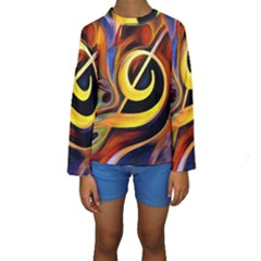 Art Oil Picture Music Nota Kids  Long Sleeve Swimwear
