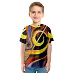 Art Oil Picture Music Nota Kids  Sport Mesh Tee
