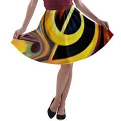 Art Oil Picture Music Nota A-line Skater Skirt
