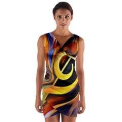Art Oil Picture Music Nota Wrap Front Bodycon Dress
