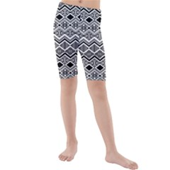 Aztec Design Pattern Kids  Mid Length Swim Shorts