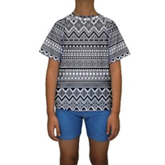 Aztec Pattern Design Kids  Short Sleeve Swimwear