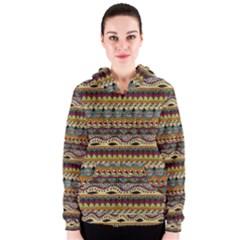 Aztec Pattern Ethnic Women s Zipper Hoodie