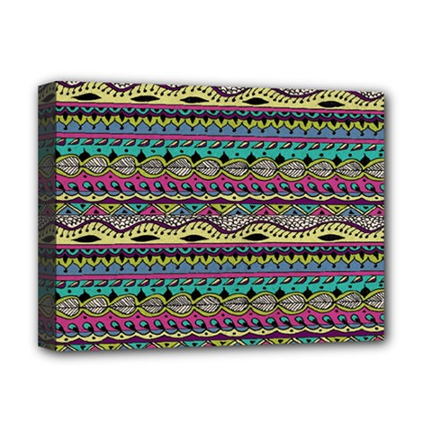 Aztec Pattern Cool Colors Deluxe Canvas 16  x 12