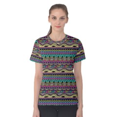 Aztec Pattern Cool Colors Women s Cotton Tee