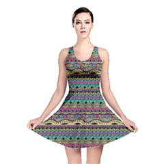 Aztec Pattern Cool Colors Reversible Skater Dress