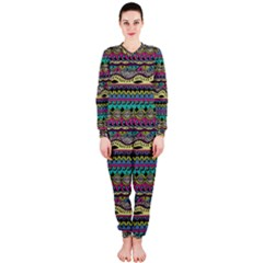 Aztec Pattern Cool Colors OnePiece Jumpsuit (Ladies)