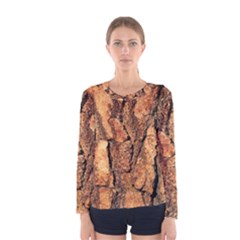Bark Texture Wood Large Rough Red Wood Outside California Women s Long Sleeve Tee