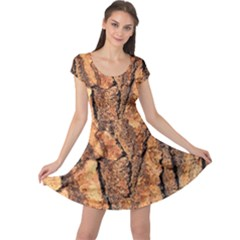 Bark Texture Wood Large Rough Red Wood Outside California Cap Sleeve Dresses