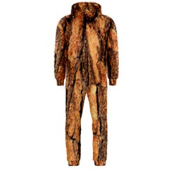 Bark Texture Wood Large Rough Red Wood Outside California Hooded Jumpsuit (Men)