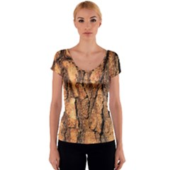 Bark Texture Wood Large Rough Red Wood Outside California Women s V-Neck Cap Sleeve Top