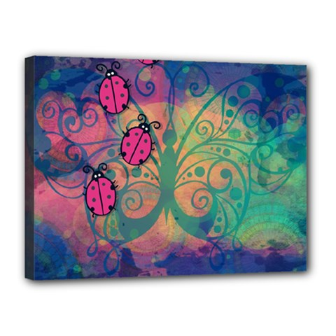 Background Colorful Bugs Canvas 16  x 12
