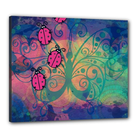 Background Colorful Bugs Canvas 24  x 20