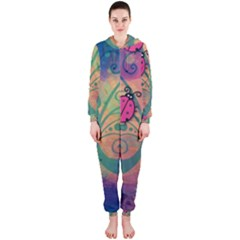 Background Colorful Bugs Hooded Jumpsuit (Ladies)