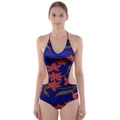 Batik  Fabric Cut-Out One Piece Swimsuit