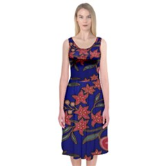 Batik  Fabric Midi Sleeveless Dress