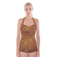 Batik Art Pattern Boyleg Halter Swimsuit