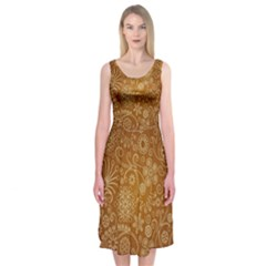 Batik Art Pattern Midi Sleeveless Dress