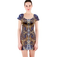 Baroque Fractal Pattern Short Sleeve Bodycon Dress