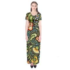 Bohemia Floral Pattern Short Sleeve Maxi Dress