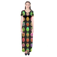 Beetles Insects Bugs Short Sleeve Maxi Dress