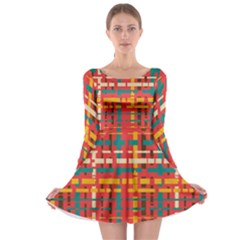 Colorful Line Segments Long Sleeve Skater Dress