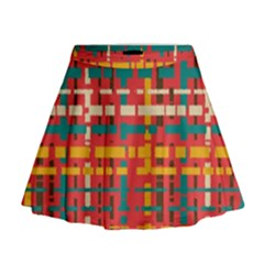 Colorful Line Segments Mini Flare Skirt