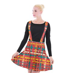 Colorful Line Segments Suspender Skater Skirt