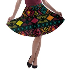 Bohemian Patterns Tribal A-line Skater Skirt