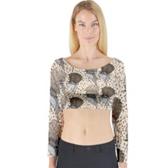 Bouffant Birds Long Sleeve Crop Top