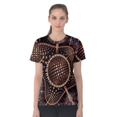 Brown Fractal Balls And Circles Women s Cotton Tee