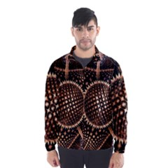 Brown Fractal Balls And Circles Wind Breaker (Men)