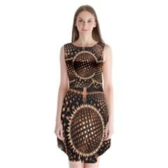 Brown Fractal Balls And Circles Sleeveless Chiffon Dress