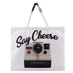 Say Cheese Zipper Large Tote Bag