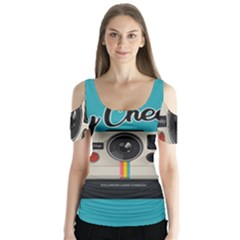 Say Cheese Butterfly Sleeve Cutout Tee
