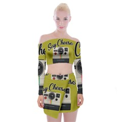 Say Cheese Off Shoulder Top With Skirt Set