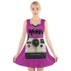 Say Cheese V-Neck Sleeveless Skater Dress