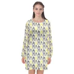 Tricolored Geometric Pattern Long Sleeve Chiffon Shift Dress