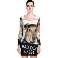 Bad dog Long Sleeve Velvet Bodycon Dress